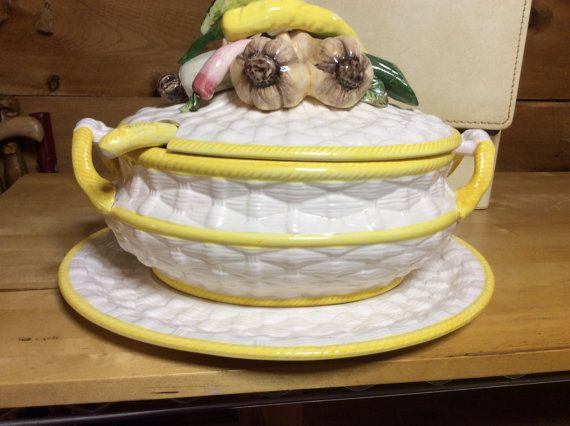 Vintage ceramic tureen bought in the 1970s in Miami Regency Florida, Palm Beach style.  Pilar showed this in the class kitchen cabinet in our Key
