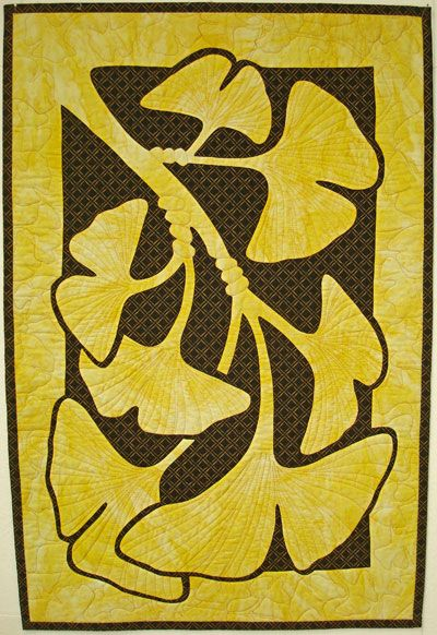 Ginkgo Quilt Patterns   -Quilting Ideas for 2 Fabric Applique Quilts from Pacific Rim Quilt ...