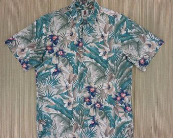 Imprimer chemise Hawaïenne TORI RICHARD Honolulu Hawaii forêt tropicale Aloha Shirt Floral pour homme 100 % coton Camp - M - Oahu Lew Shirt Shack