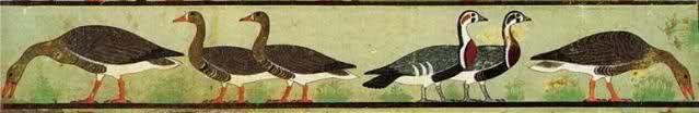 Fregio delle oche; ca 2630 a.C, Antico Regno; tempera su intonaco; frammento della mastaba di Nefèr Maàt e moglie, a sud di Menfi; Il Cairo, Museo Egizio