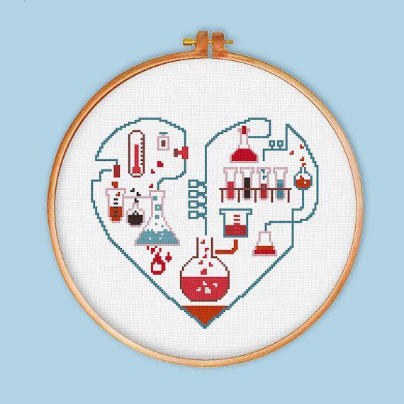 Chemistry of Love cross stitch pattern modern cross by ThuHaDesign