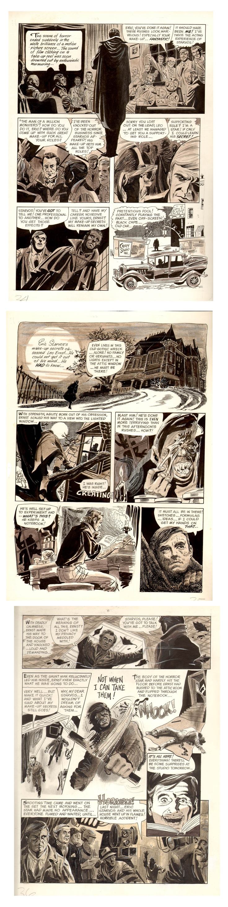 """JOE ORLANDO """"Under the Skin"""" from Eerie #3 . 1966. Written by Archie Goodwin. COMPLETE 7 PAGE STORY! Incredible monster kid story with art assist from Jerry Grandenetti. Beautiful multi-tone pages on flexible art board. My favorite Orlando story at Warren. $3300"""