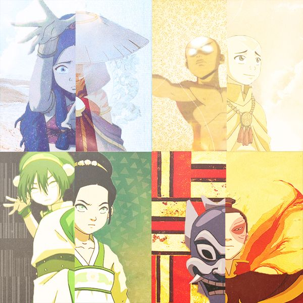 We all have disguises.(I love how Aang's is the avatar state instead of his school clothes. It fits better. )