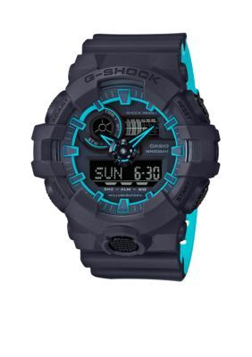 G-Shock Men's Men's G-Shock Layered Neon Blue Ana-Dig Watch - Black - One Size
