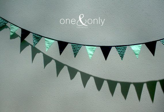 Flag Bunting Aqua & Navy by OneAndOnlyHandmade on Etsy