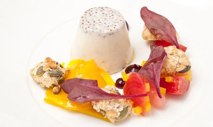 #Maille recipe - Maille Mustard panna cotta, heritage beetroot and goat's cheese crumble