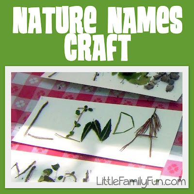 Names crafted out of things found in nature. Sounds like a fun idea with kids.