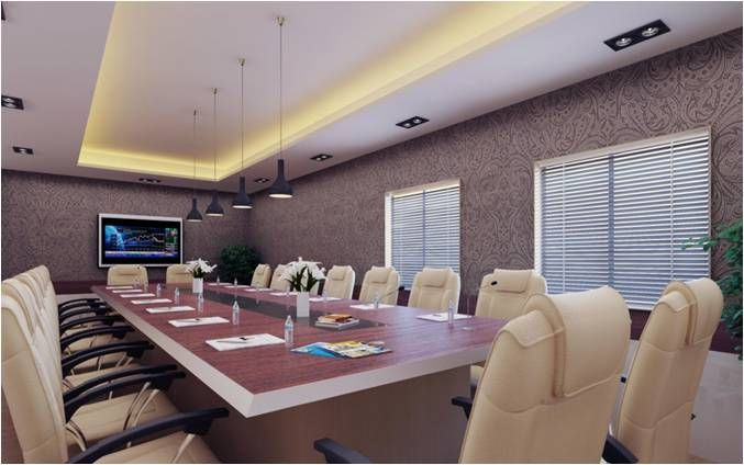 Office conference room with wallpaper design by interior for Interior wallpaper designs india