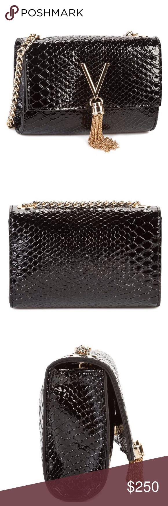 """Mario Valentino evening Bag Purse croc black gold Stunning Mario Valentino bag! Black croc patent leather with nice weighted gold tone hard wear. 6.5"""" Long 5"""" tall 24"""" strap drop strap is removable. Has tags. Mario Valentino Bags Mini Bags"""