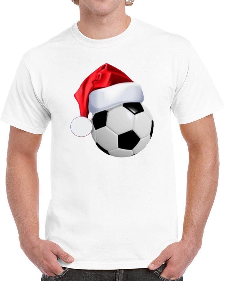 Football Soccer Christmas Santa Hat T Shirt