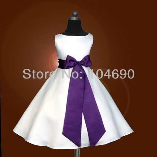 Envío gratis, encargo, barato, bowknot, púrpura sash, del partido del desfile, flower dress girls, falda de la princesa, blanco