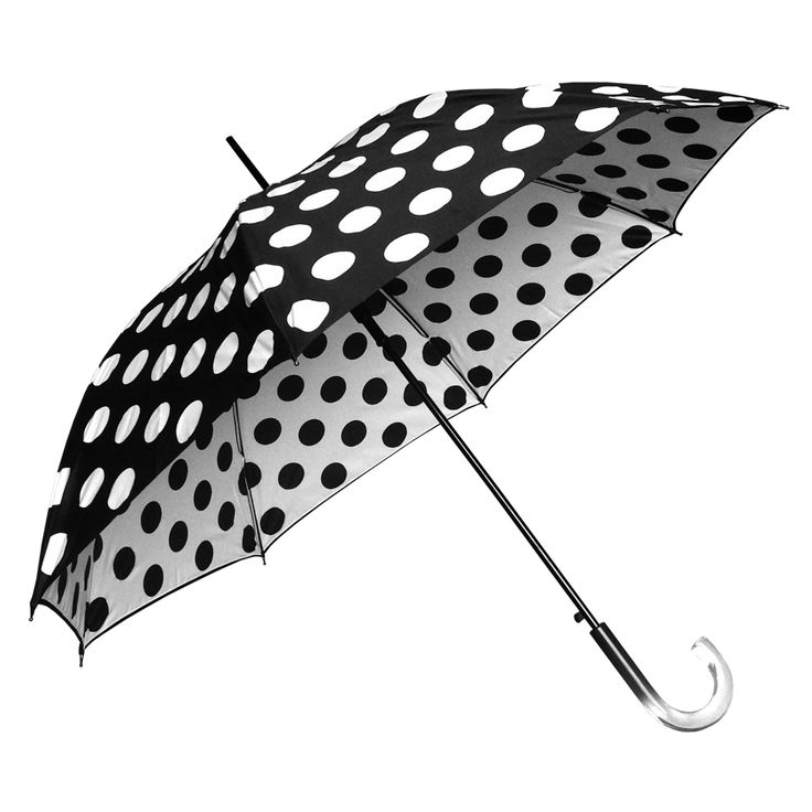 Clifton Double Cover Dot Series Auto Open Black umbrella features a matching Ombre two tone handle, flexible fibreglass ribs and is automatic open.