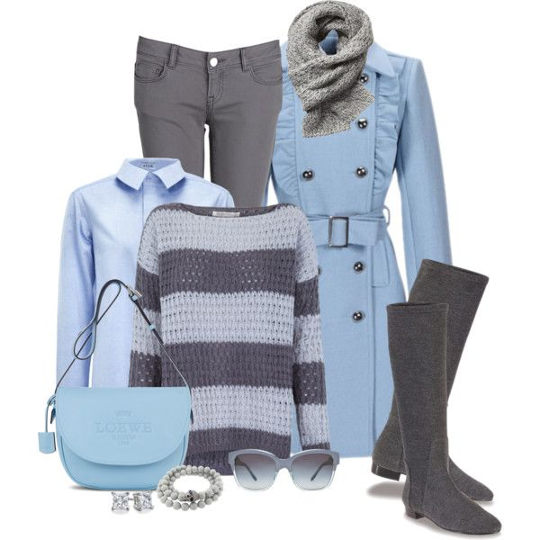 """""""Baby Blue & Grey"""" Outfit.  Coat, Button Up, Sweater, Jeans, Purse & Tall Boots."""