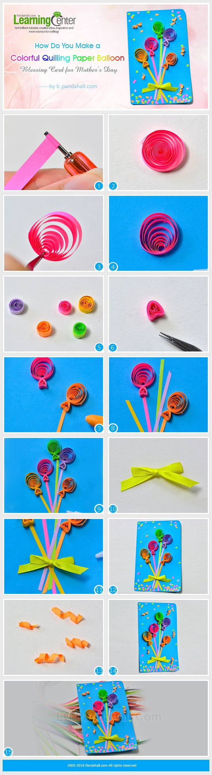 How Do You Make a Colorful Quilling Paper Balloon Blessing Card for Mother's Day from LC.Pandahall.com