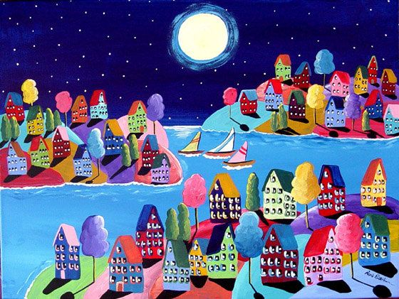 Whimsical Night Sailboats Houses Folk Art Painting