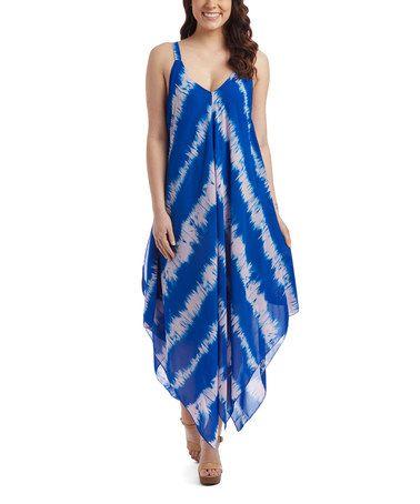 Look what I found on #zulily! Blue Tie-Dye V-Neck Maxi Dress - Plus #zulilyfinds