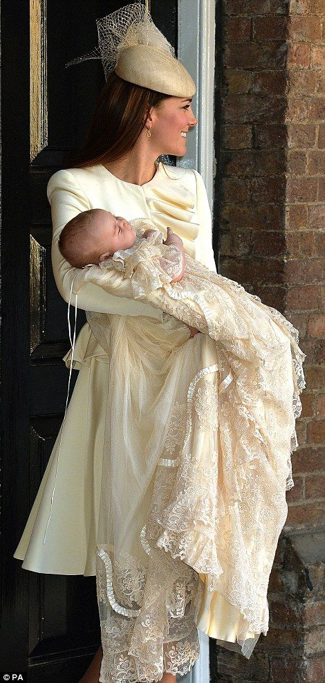 The Duchess of Cambridge, carries her son, Prince George ~ As we would expect ~ the most gorgeous , lace christening gown, ever~❥