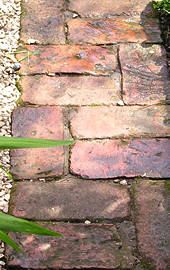 Path made from reclaimed bricks