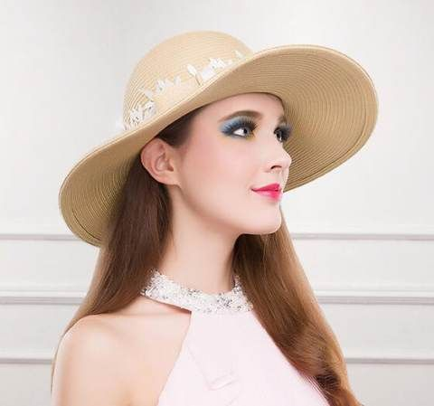 Elegant lace bow straw hats for summer beach womens sun hat