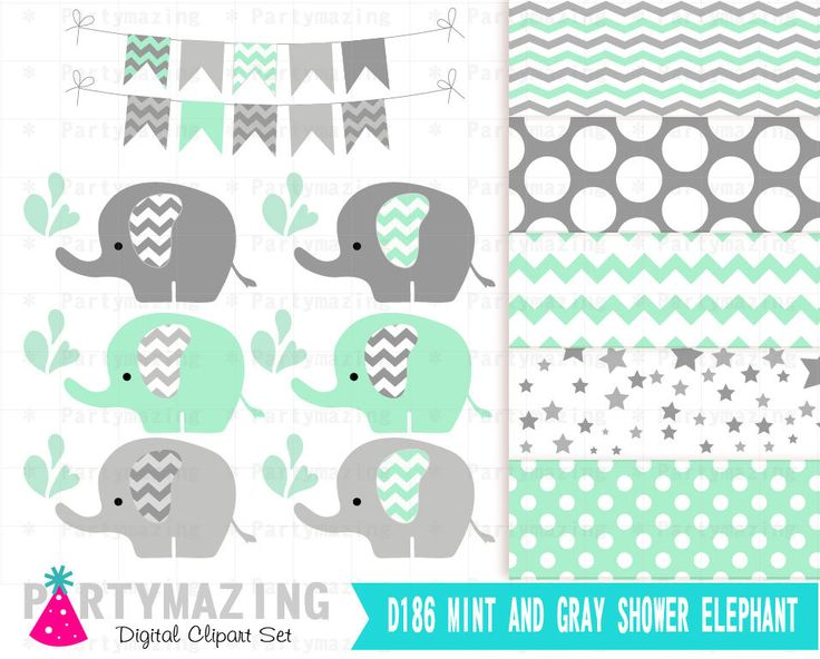 New from Partymazing on Etsy: Mint Elephant Digital Clipart set  Mint  and Gray - Baby Shower clipart Elephant Clip Art Set and Digital Paper Set D186 (4.99 USD) For more @partymazing