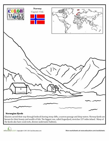 Worksheets: Norway Coloring Page