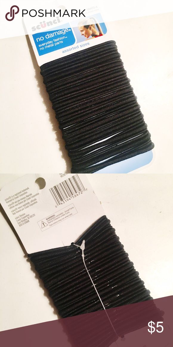 Scünci Black Hair Ties (36 pcs.) *BRAND NEW* | 36 PCS. | Black | Assorted Sizes | No Damage | No Metal Parts Scünci Accessories Hair Accessories