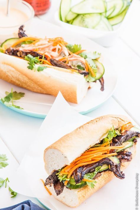 Portobello Mushroom Banh Mi with Sriracha Mayonnaise - this vegetarian spin on the Vietnamese classic is the perfect lunch | Click for the recipe