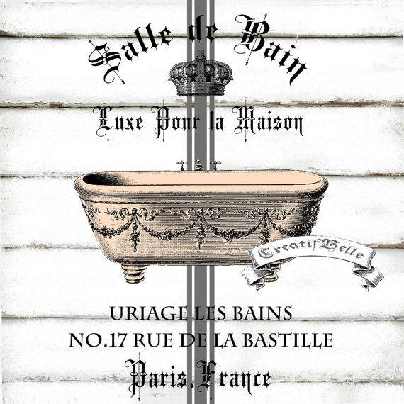 French Vintage Salle de Bain Bath Large A4 Shabby Chic Iron on Transfer Graphic Printable Decoupage Label