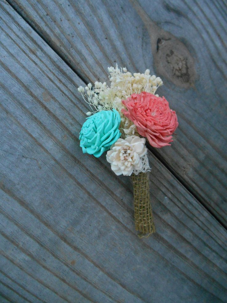 Boutonniere, Buttonhole, mint coral boutonniere, groomsman by RosyLilyFlorals on Etsy https://www.etsy.com/listing/242248055/boutonniere-buttonhole-mint-coral