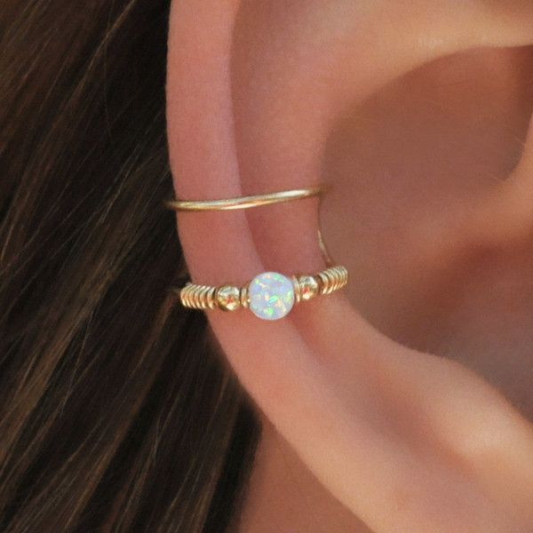DOUBLE WRAP CUFF, White Opal Ear Cuff, Ear Cuff, Fake Piercing, No... (52 BRL) ❤ liked on Polyvore featuring jewelry, accessories, earrings, artificial jewelry, ear cuff jewelry, imitation jewellery, opal jewellery and opal bangle