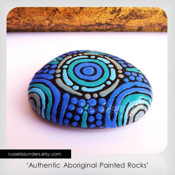 Painted rock Aboriginal Art Dot Art Acrylic by RussellSaunders, $18.00