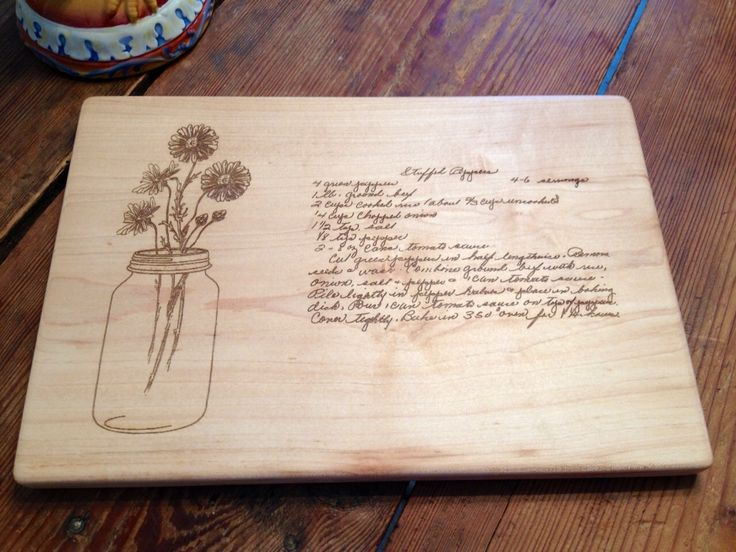 Mothers Handwritten Recipe Custom engraved with a Mason Jar of Daisys. There is space to add your Grandmothers treasured recipe to this cutting board. A great gift for your favorite cook. The board shown is in Maple. Any of our designs can be engraved on this board. This Mason Jar is available on Cherry, Maple And Mahogany also. This design can be put on any of our cutting boards. This cutting board is engraved to your order in our shop. Each piece of wood will vary in color and grain, even…