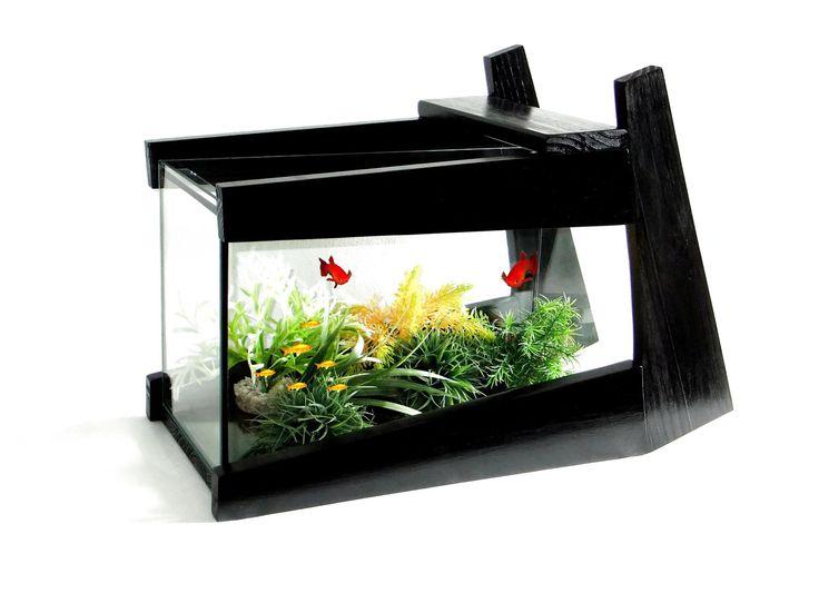AQUARIUM DESIGN NOIR 15 LED BLEU SANS FIL © : Animaux par vpadesign-mobilier