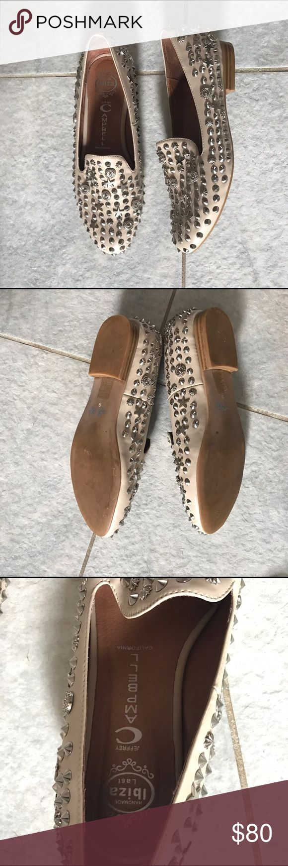 Jeffrey Campbell Studded Loafers Handmade cream studded loafers. There are absolutely no wear marks. The studs are nailed in which means that they are of quality and won't fall off compared to glued ones. Jeffrey Campbell Shoes Flats & Loafers