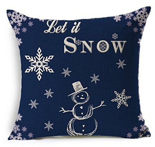 Popular Christmas Snowman Blue Design Throw Pillow Case Personalized Cushion Cover NEW Home Office Decorative Square