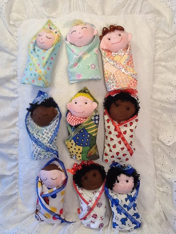 Swaddle Baby PDF Doll Pattern with 9 Faces & 9 Hair Variations! Easy Cloth Doll…