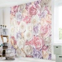 Traumhafte #Schiebegardinen #Ideen Sets 1-6teilig #Schiebevorhang #Raumtrenner #floral #rosen #pastell #Raumteiler auf Bilderwelten.de