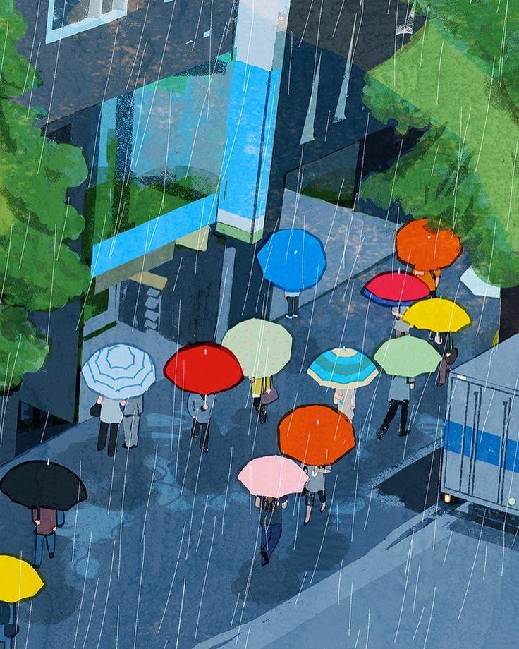 #rain #kyushu #hakata #japan #illustration #tatsurokiuchi #umbrella #people…