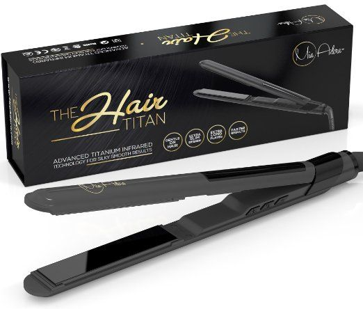 Best Nano Titanium Hair Straightener - Salon Professional Flat Iron with EXTRA LONG Floating Plates for Instant CELEBRITY Styling Ability - Ultra Light Weight & Extra Slim Design - 2 Year Warranty