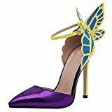 #10: QIYUN.Z Las Mujeres Cinturon De Hebilla De Mariposa Tacon De Aguja En Punta Hueca Bomba De Zapatos De La Sandalia