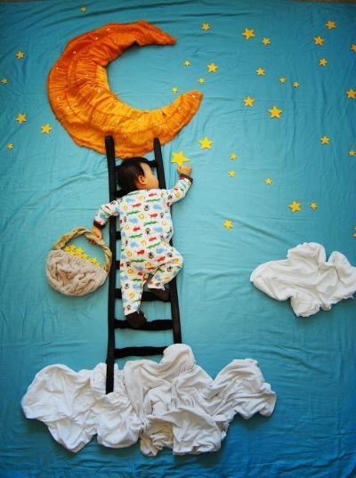 Ik klim op mijn ladder naar de maan en geniet van alle mooie, heldere sterren...