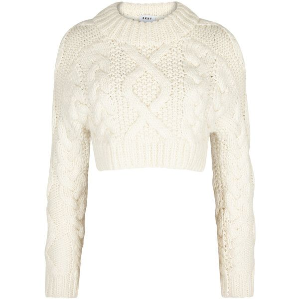 DKNY Cream cropped wool jumper (£395) ❤ liked on Polyvore featuring tops, sweaters, crop top, thick knit sweater, cream sweater, wool sweaters, cropped jumper and white wool sweater