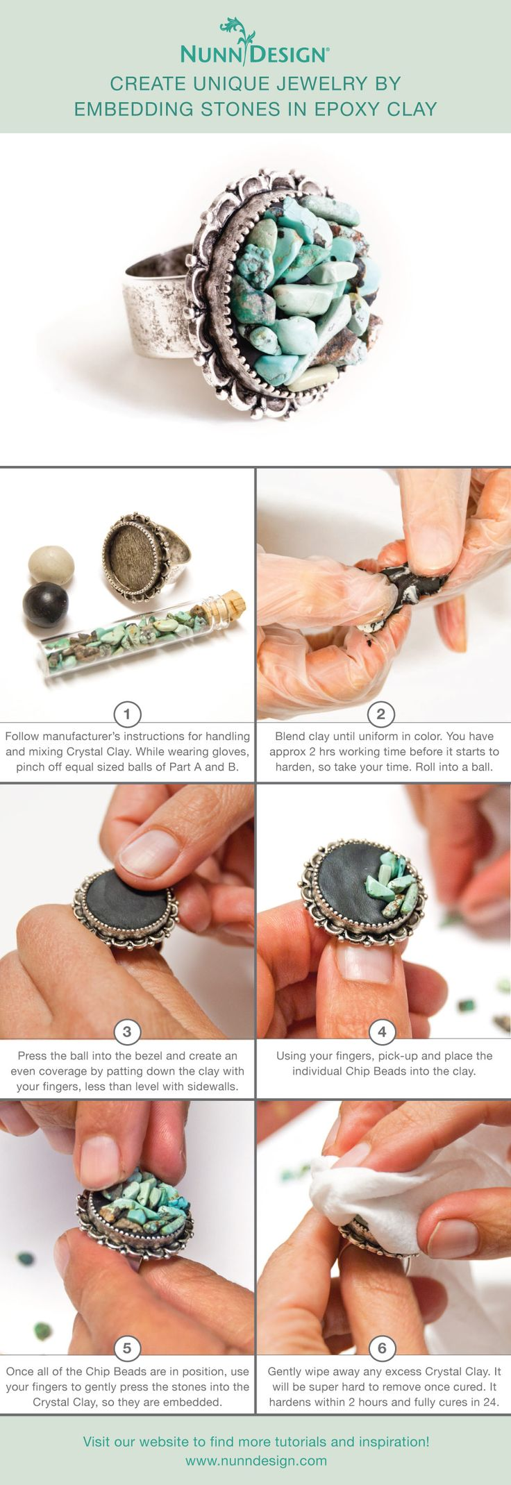 This tutorial on Embedding Stones walks you through the simple steps of embedding chip beads into Crystal Clay.