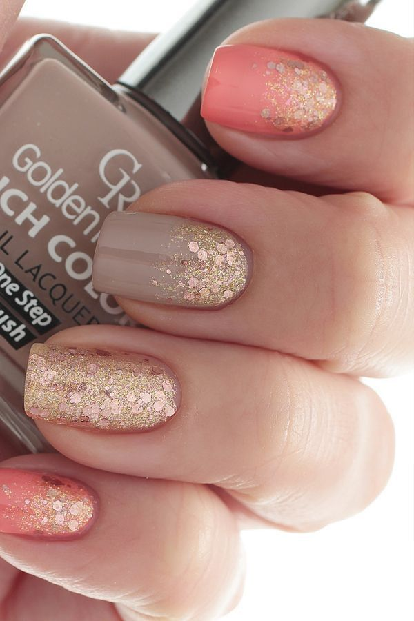A beautiful fall inspired nail art design using matte, nude, melon and gold polish with gold sparkles on top.