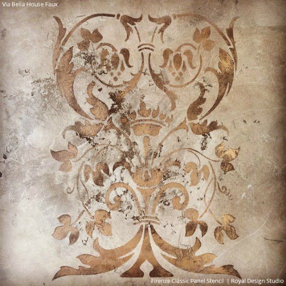 OurItalian design of the Firenze Classic Panel Stencils pattern that is perfectly sized for adding an artisan detail to furniture and cabinet panels and more.