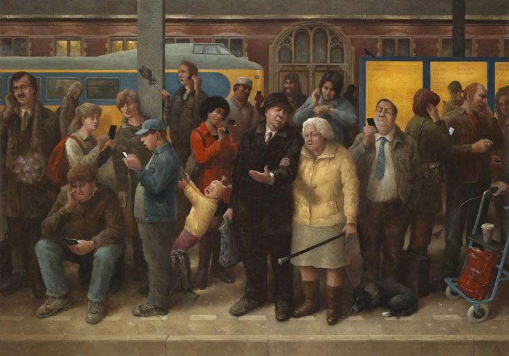 made by: Marius van Dokkum (Painter from Holland), 'Dames en Heren' (Ladies and Gentleman) - Oil on canvas, 2014