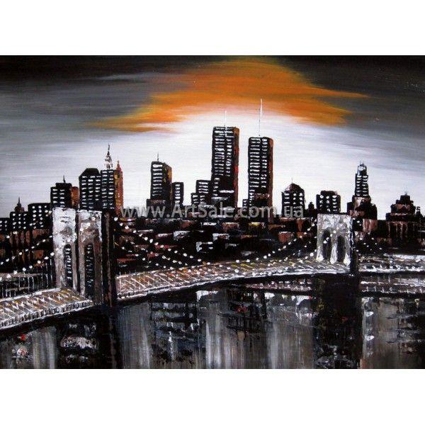 Картина Бруклинский Мост, ГОРОДСКОЙ ПЕЙЗАЖ, Городские пейзажи картины, городской пейзаж живопись, городской пейзаж маслом, современный пейзаж, городские картины, городской пейзаж купить