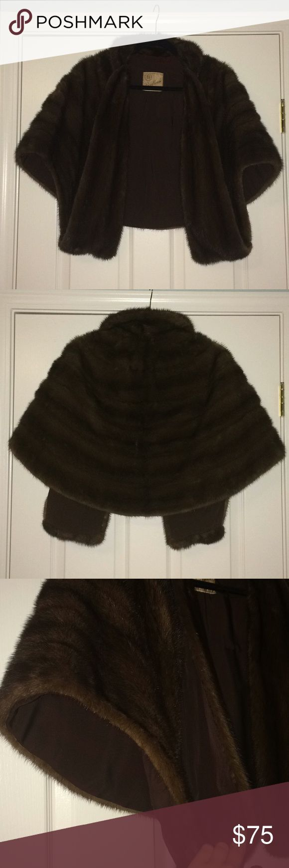 Vintage 1950s Bon Marche Honey Brown MINK Wrap Mint condition. Mink fur makes this wrap very soft.   This wrap/shrug/cape has a collar and inseams that drapes down in the center and create a hammock-like pocket for your hands. Bon Marche Jackets & Coats Capes