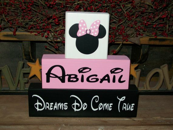 Personalized Minnie Mouse Wood Sign Shelf Blocks Dreams Do Come True Nursery Kids Room Decor Baby