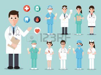 verpleegster%3A+artsen+en+verpleegkundigen+en+medische+staf+plat+ontwerp+icon+set